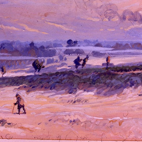Common on a misty day - 1914 - watercolour by Heasman | Cat no Slides B 3.19