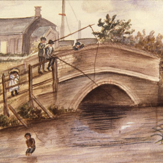 Old Pickford Bridge - 1900 - watercolour by Kate Richardson   Cat no Slides B 3.2
