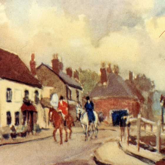 Hunt riders passing The Cock | Watercolour - artist unknown; Slide cat.no. B 3.22