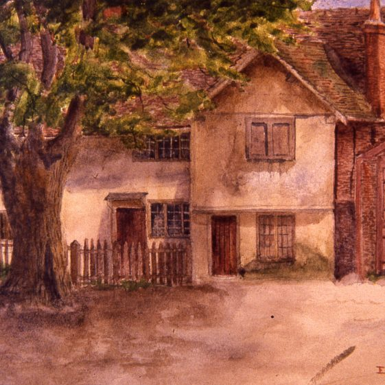High Street, Smithy and Tollgate cottages - 1908 | Oil painting by E H V St Clair; Slides cat.no. B 3.40