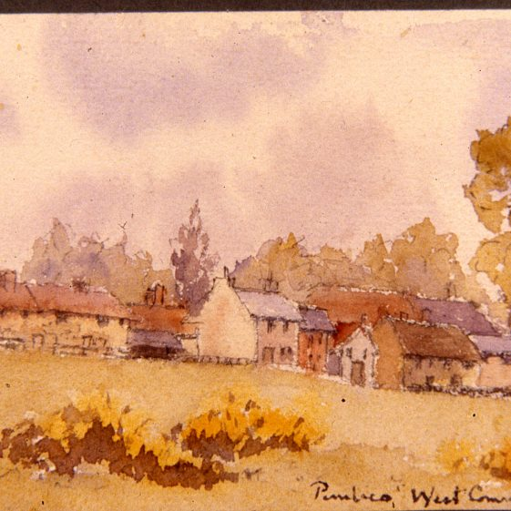 Pimlico cottages on the Common - 1890's - by Rhoda Wilson | Cat no Slides B 3.51