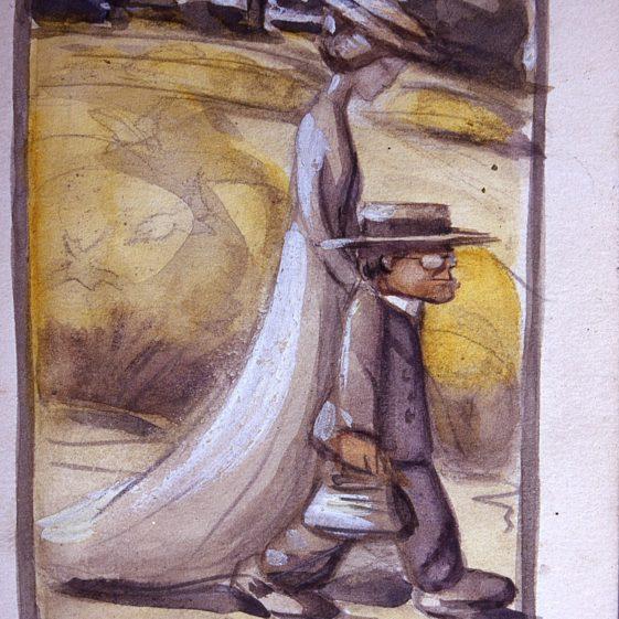 Heasman and wife walking - 1903 by Heasman | Cat no Slides B 3.6