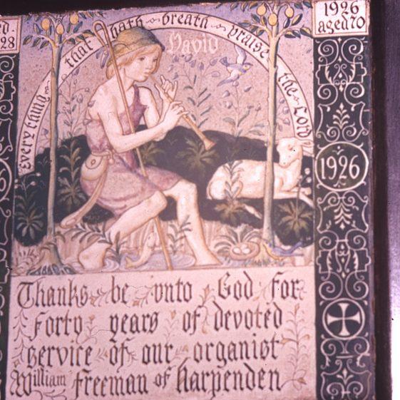 Tile under organ - 1926 Heasman's last work | Cat no Slides B 3.7