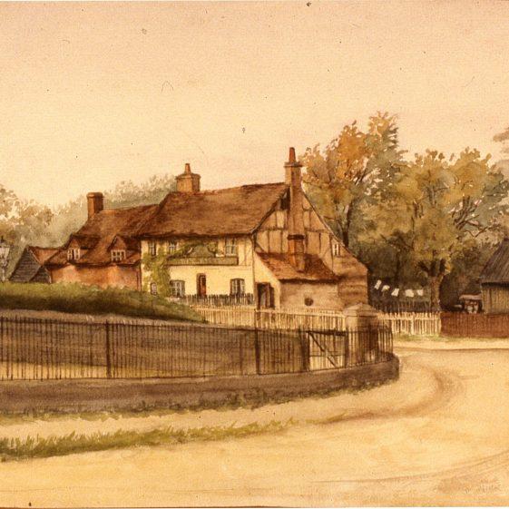 Plough and Harrow Southdown Road -1912? - Watercolour by Edith Salisbury   Cat no Slides B 3.85