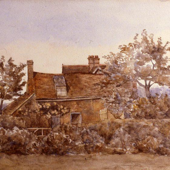 Sheepskin Hall - Smithy on the Common - 1912? -watercolour by E Salisbury | Cat no Slides B 3.90