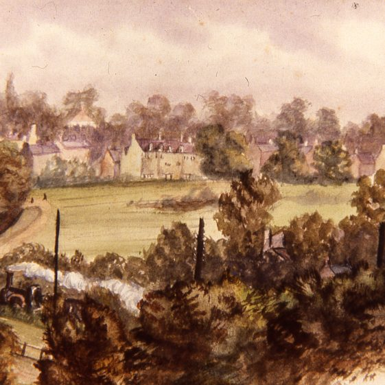 View from Park View House in Milton Road across the common - 1890's.  Artist unknown | LHS archive, cat. no B 3.99
