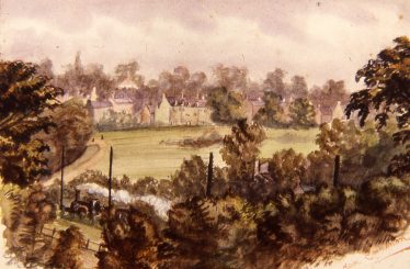 View from Park View House in Milton Road across the common in the 1890s by Kate Richardson.   LHS archive, cat.no. B 3.99