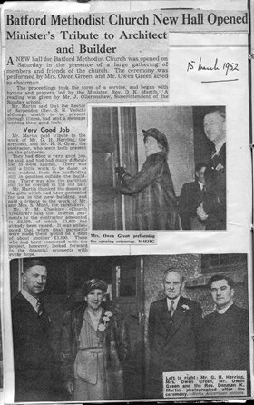 Opening of Batford Methodist Church Hall, 1952   LHS archives, Herring personal cuttings BF 52.3.64