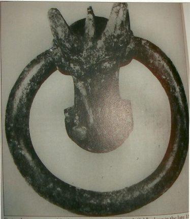Bronze escutcheon shown with ring attached; Luton Museum, Wardown Park | Les Casey