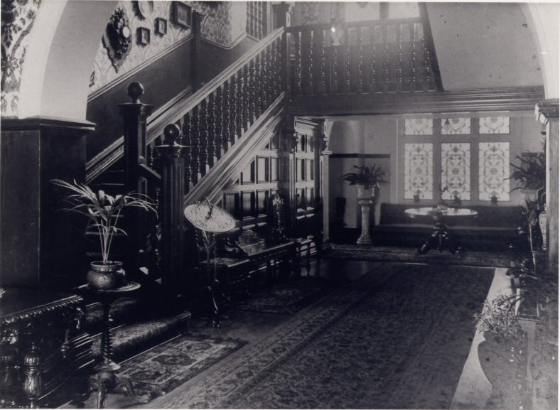 Hall and staircase - in the time of Sir Halley Stewart | LHS archives, cat.no. 003416