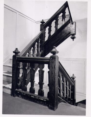 Staircase in C17 wing of Harpenden Hall | RCHM, 1977, LHS archives