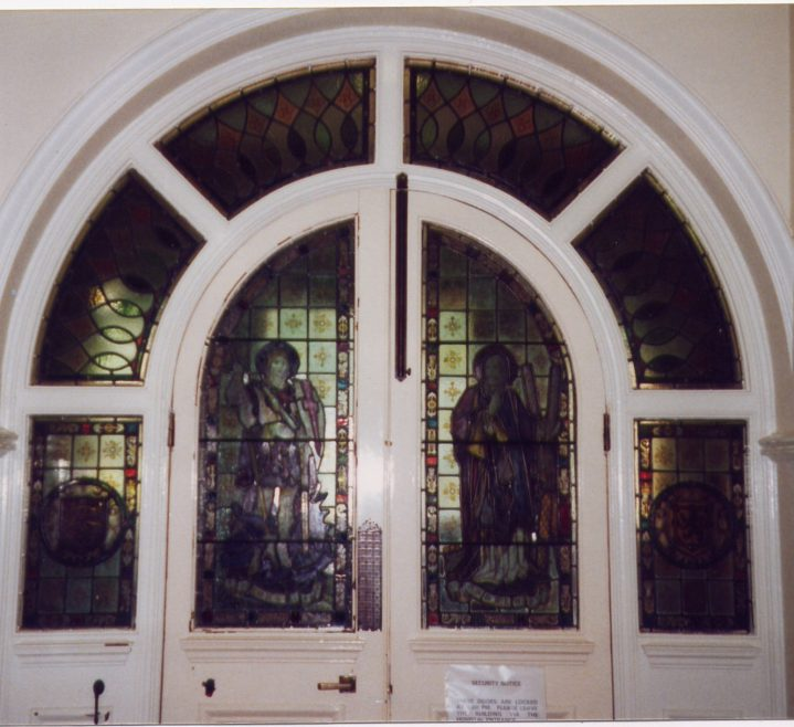 Stained glass in inner doors | LHS archives, cat.no. 007047