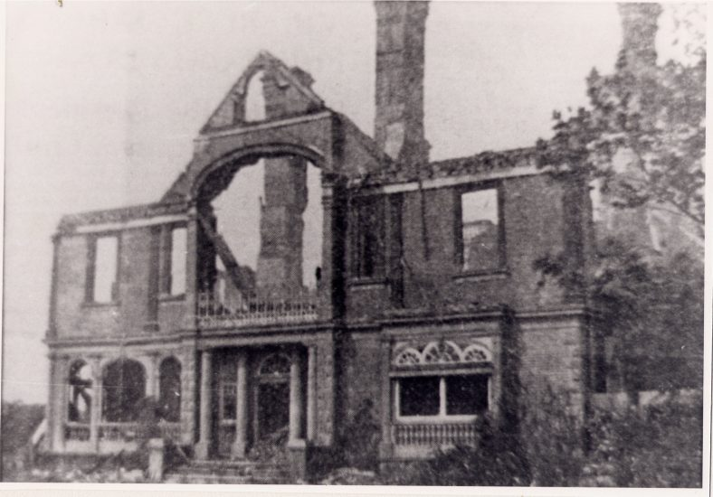 The shell remaining after a major fire | News-cutting, LHS archive, cat.no 004066