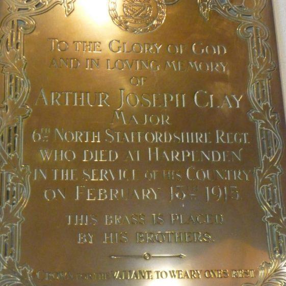 Memorial to Arthur Joseph Clay - St Nicholas church | G Ross, 2013