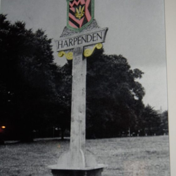 Coronation Memorial, Harpenden, 1937. Later, it was discovered that the shield did not conform with heraldic rules, and a new design was made and erected in 1949 | Des Summerson