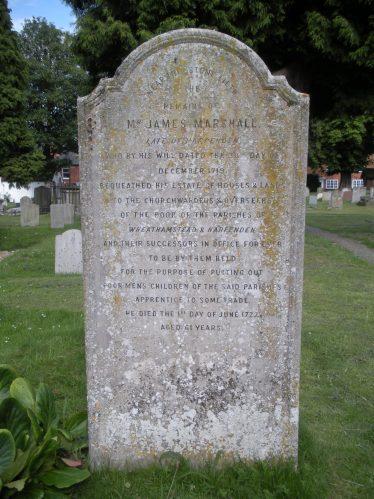 Memorial to James Marshall, St Helen's churchyard, Wheathampstead   Rosemary Ross, July 2011