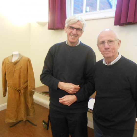 David Keen, Curator, and John Bristow, treasurer of the Local History Society - together with a leather great-coat | G Ross, 1 December 2018