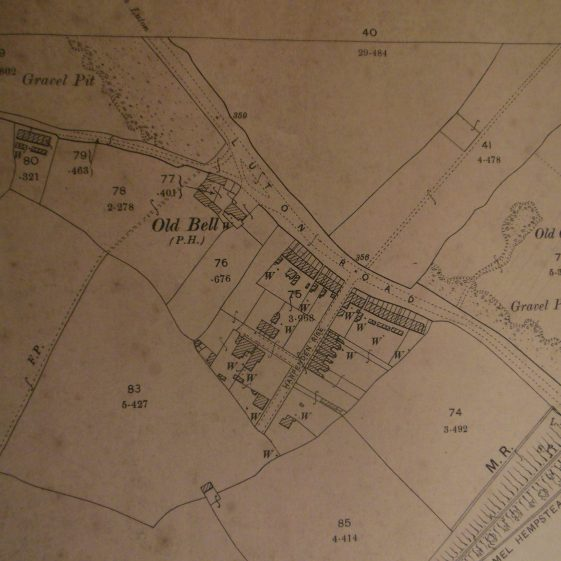 49. Gravel workings near The Old Bell, Luton Road, from 1898 OS map | R Ross from map
