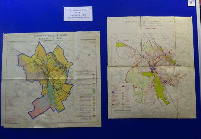 Development proposals for Harpenden in the 1950s - in response to the acute need for housing.  All land within the Urban District Council boundaries was zoned for development.