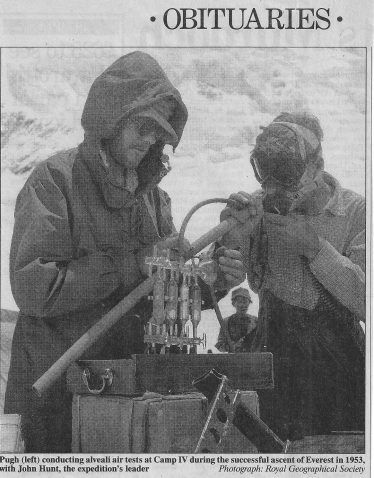 Dr Pugh conducting an alveali air test on John Hunt, leader of the 1953 expedition | Royal Geographic Society - reproduced in The Independent - 27 January 1995