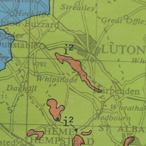 2. Geological map of UK, showing clay overlay between Rothamsted and Slip End | R.Ross, January 2015