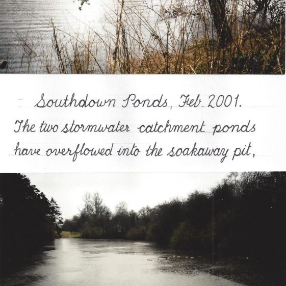 72. However, in February 2001 John Davis captured a moment when the soak-away filled to become the third pond | LHS archives - LHS 012552 - John Davis