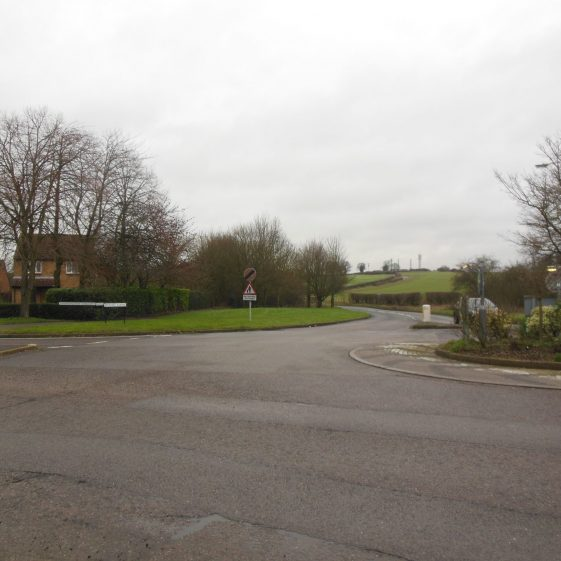 106. Looking NNE at the junction where House Lane meets Sandringham Crescent, on the eastern side of the Jersey Farm estate | R Ross, January 2016