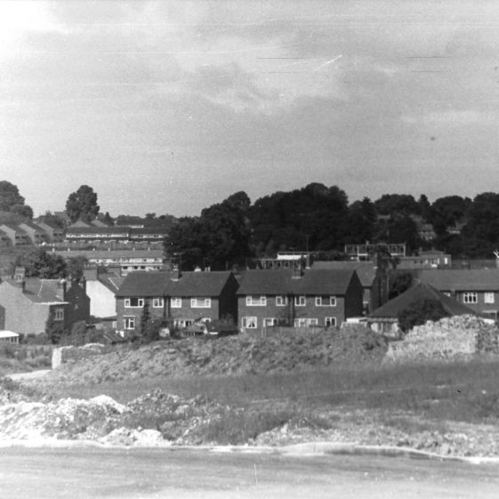 78. The valley bottom, viewed from the Broadstone estate when under construction in the 1970s. View across to the Grove estate. | LHS archives - LHS 001882, LFC