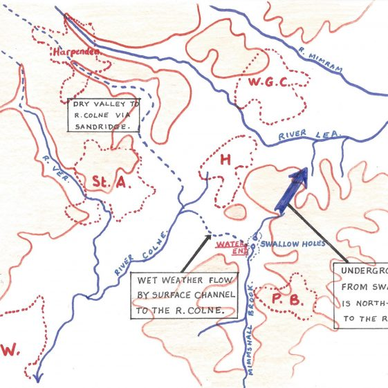 Sketch map of the dry valley, showing its relationship to the Lea and Colne valleys | Les Casey