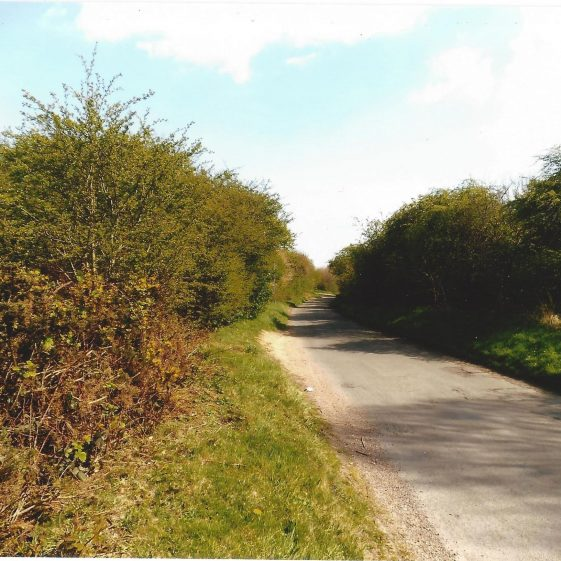 90. Drovers Lane continues across the B 651 from Ferrars Lane, and bends towards Sandridge, grid ref 175123 | LHS archives - LFC Aug 2014, LH 14154