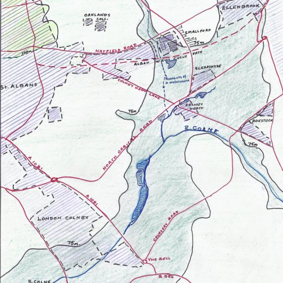 Sketch map of the dry valley from Jersey Farm to the Colne basin at Smallford | Les Casey