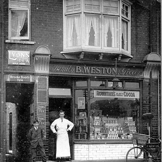 14.  Bertie Weston outside his grocer store at 102 Southdown Road, c.1950 | Di Castle's family albums