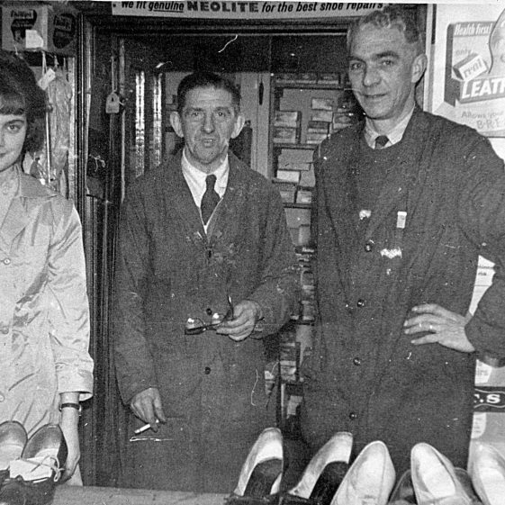 Ken Munt (right), with Dinah and Charles Smith (Ken Munt's uncle), 3A Station Road, shoe-repairs, 1950s   Di Castle's family albums