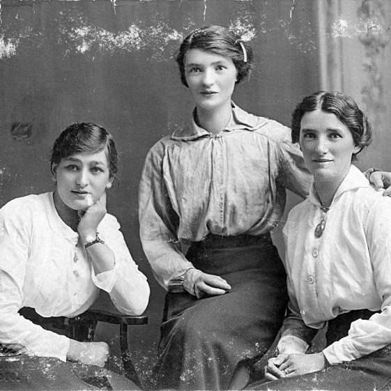 3.  Postcard with Irma, Annie (Weston) and Ciss Tuffin.  Embossed: H Howards, 61 High Town, Luton - c. 1915