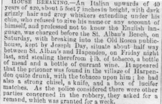 Giacomo Finaldo commits a crime at Old Rosen, St Albans Road, in 1858