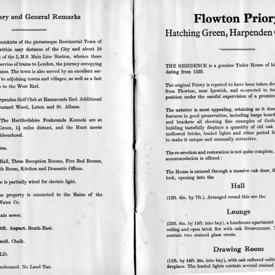 Auction brochure, 1933, general particulars and accommodation   LHS archives, BF 25.17b