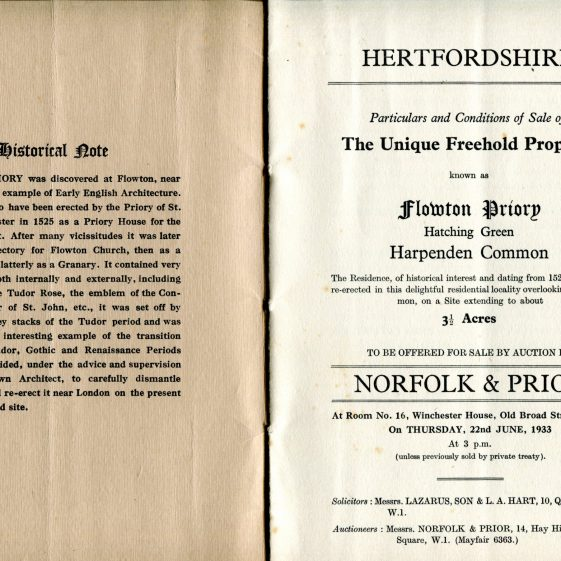 Auction Brochure 1933 - inner cover and first page