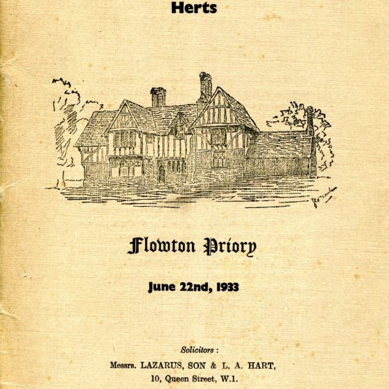 Cover of Auction brochure, 23 June 1933   LHS archives, BF 25.17b