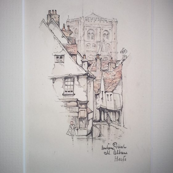 French Row and the Abbey tower, St Albans | Anton Pieck - Copyright of the Pieck family