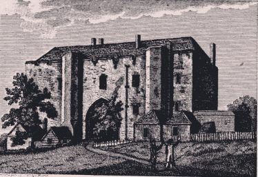 Abbey Gatehouse, built in c.1090.  A drawing viewed from the south, 1787, when the Gateway served as the Libery Gaol.