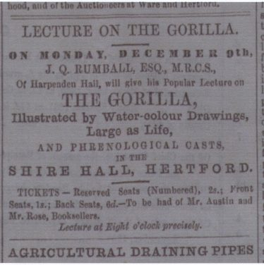 Adertisement for a lecture by J Q Rumball in The Hertford Mercury & Recorder, Saturday, 23 November 1861