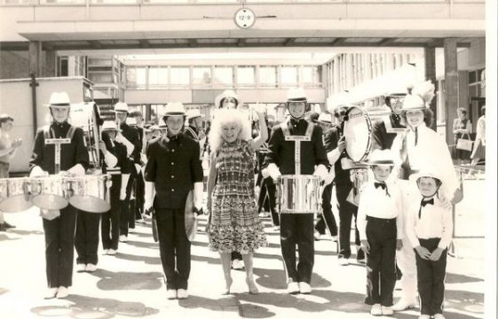 Barbara Windsor with The Harpenden Corps of Drums.