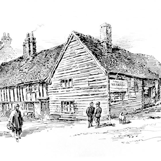 2. Sketch of Home Farm - corner of High Street and Station Road by F G Kitton | Cat no HC 051