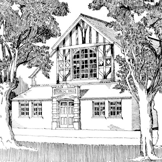Sketch of Public Hall (now Park Hall, formerly the British School), Leyton Road; artist unknown | LHS archives, cat.no. HC52