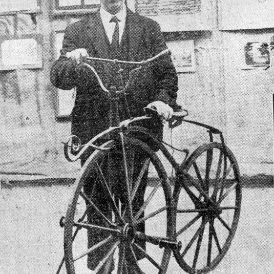 Edwin Grey with a Boneshaker -1924 | Cat no HC 0054