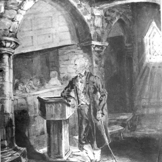 Inside the Old St Nicholas Church - Churchwarden leaning on font - 1860 | Cat no HC 061