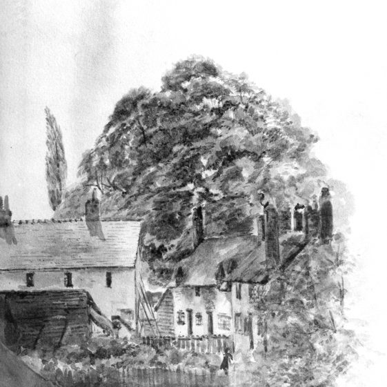 Sketch of cottages on West Common, artist unknown | LHS archives, cat.no. HC79