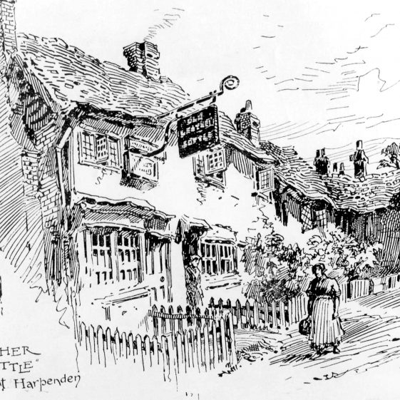 The Old Leather Bottle - site of 61 High Street - drawing by F G Kitton | Cat no HC 82