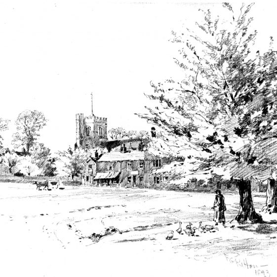 Church Green with pond - sketch by F R Kitton, 1893 | LHS archives, cat. no. HC 98