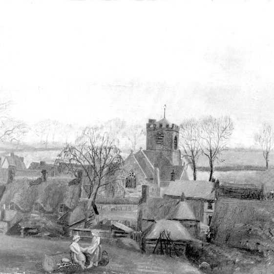 St Nicholas Church from field behind Line's smithy showing open fields to the west - 1880's | Cat no HC 123